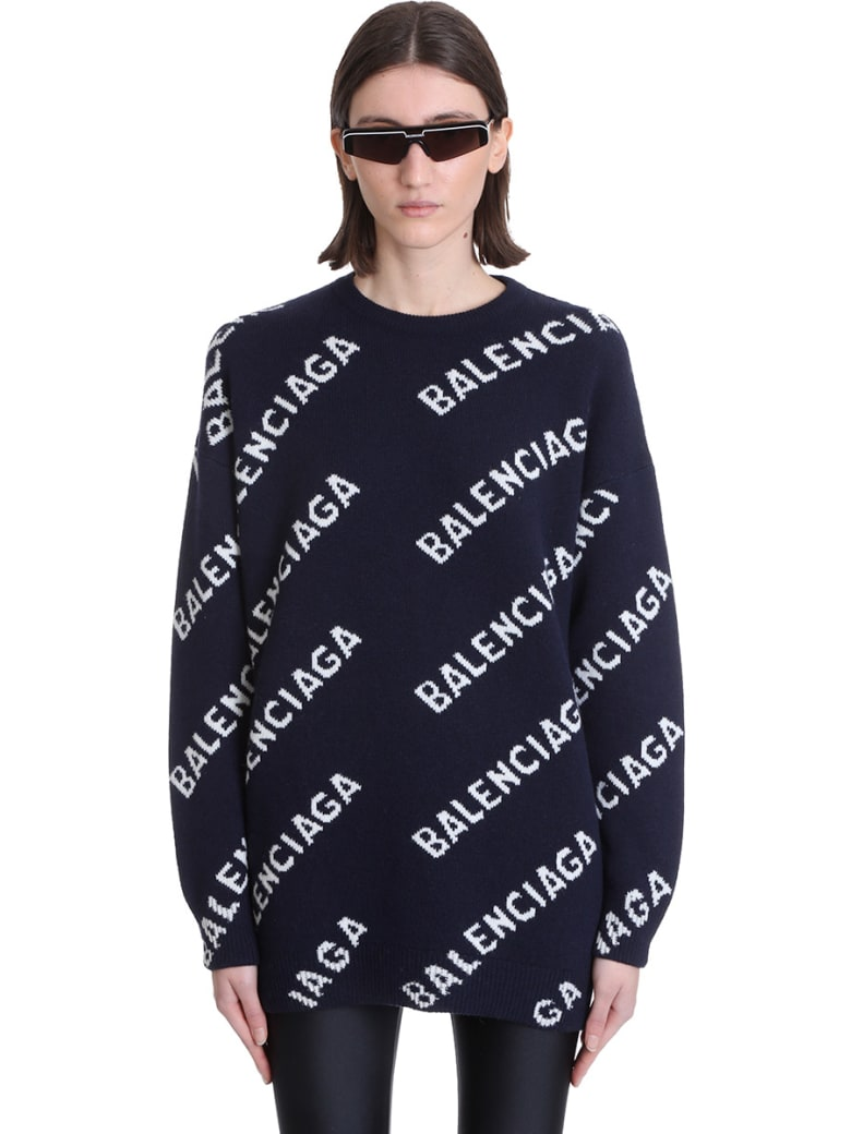 Balenciaga Knitwear In Blue Wool - blue