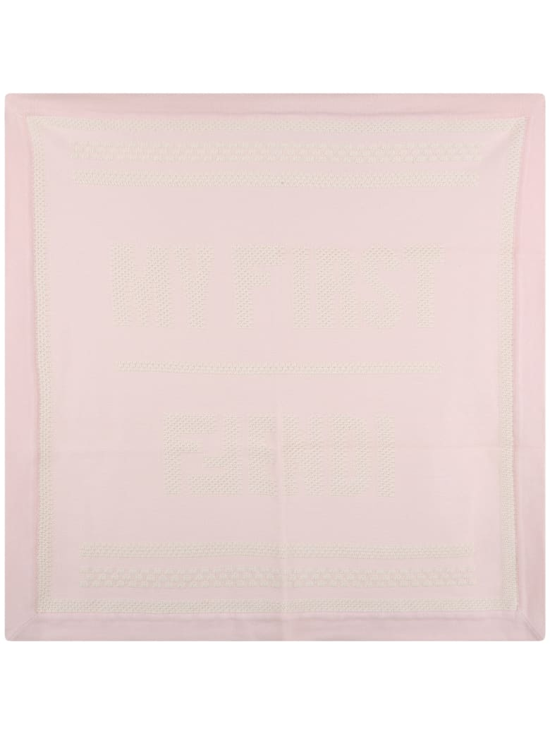 Fendi Pink Blanket For Baby Girl With Logo - Pink