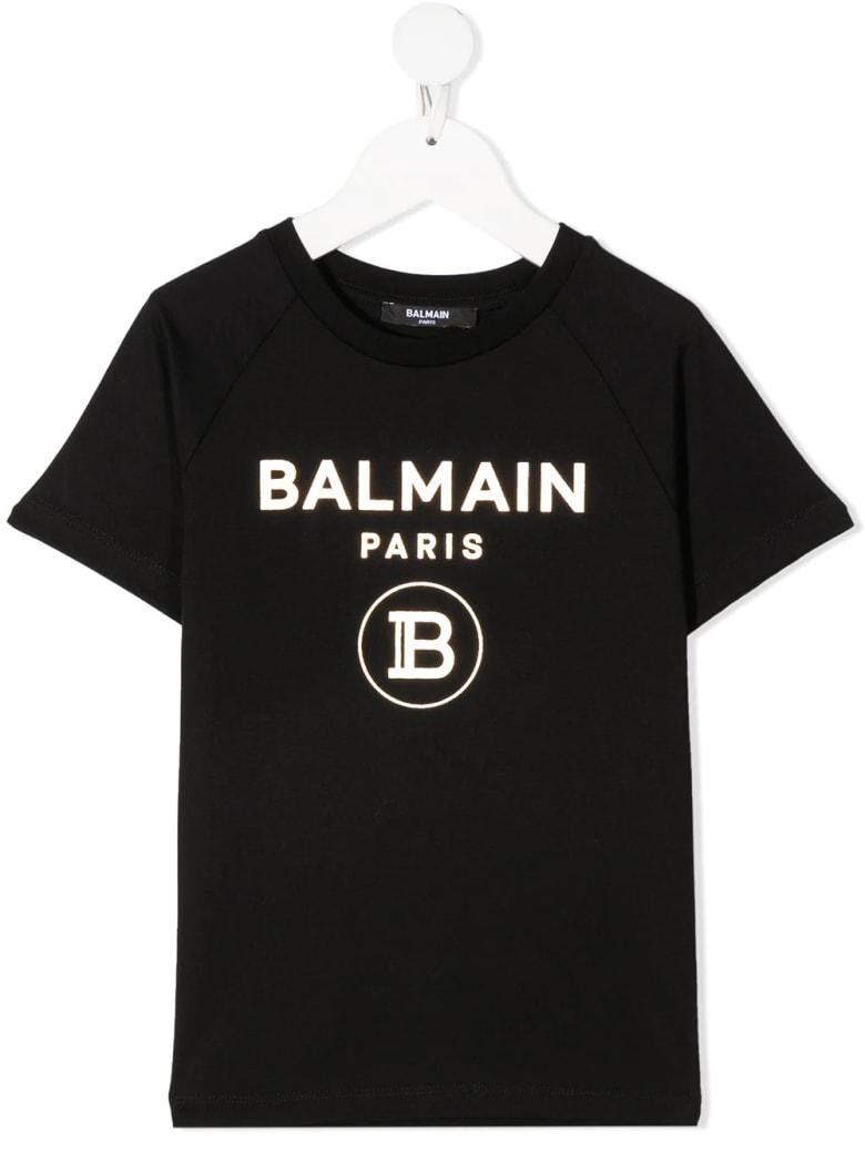 Balmain Unisex Kid Black And Gold Logo T-shirt