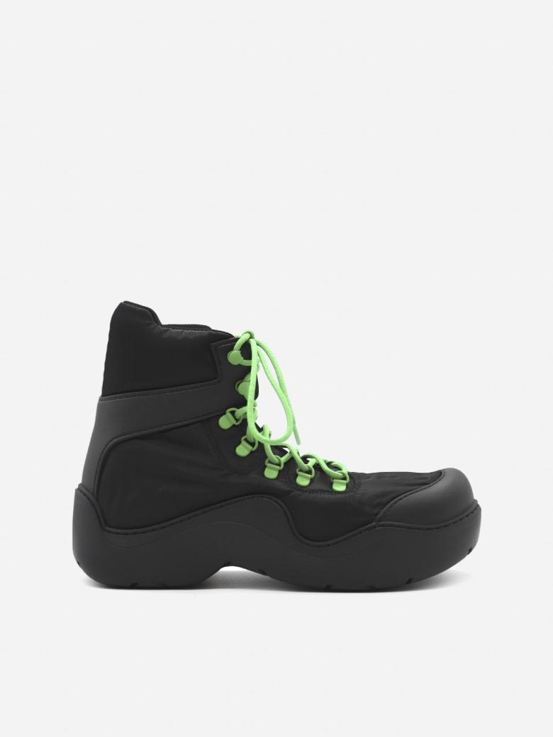 Bottega Veneta Puddle Bomber Boots In Technical Fabric - Black, green