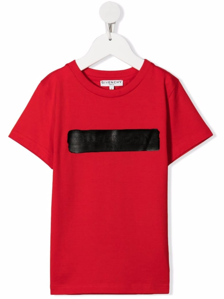 Givenchy Kids Red T-shirt With Black Logo Application - Rosso