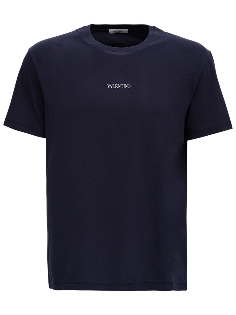 Valentino Blue Cotton T-shirt With Logo - Blu