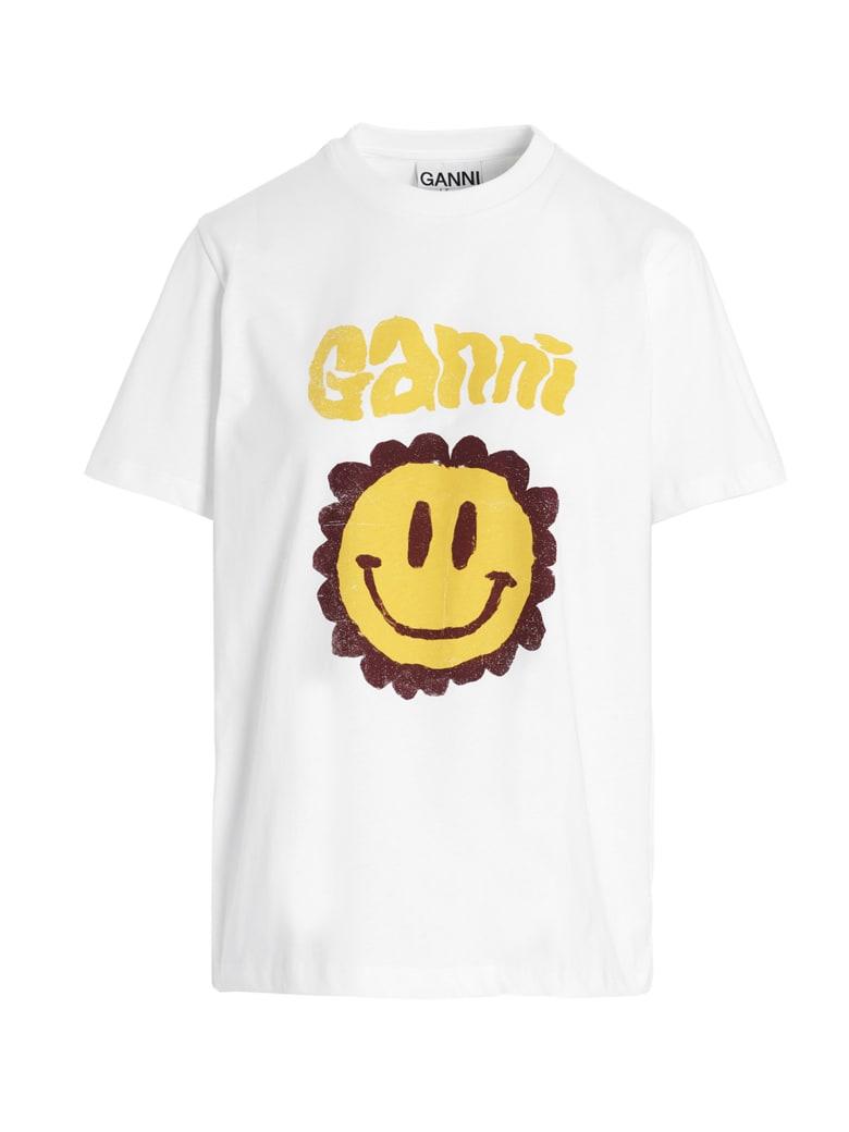 Ganni 'smiley' T-shirt - White
