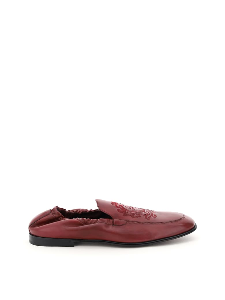 Dolce & Gabbana Ariosto Loafers With Coat Of Arms Embroidery - Bordeau