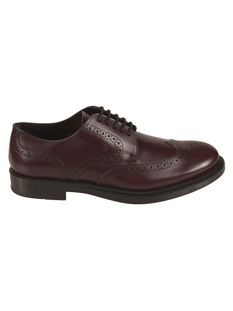Tod's Embossed Oxford Shoes - Burgundi