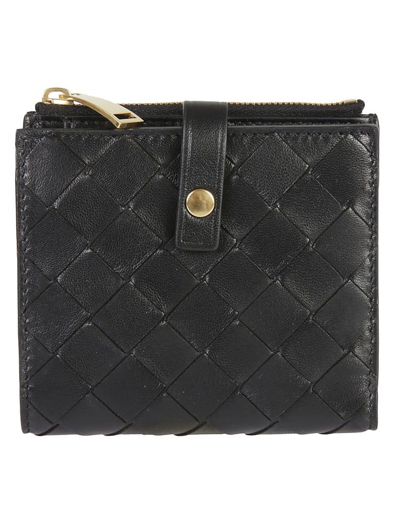 Bottega Veneta Fold Zip Wallet - Black/Gold