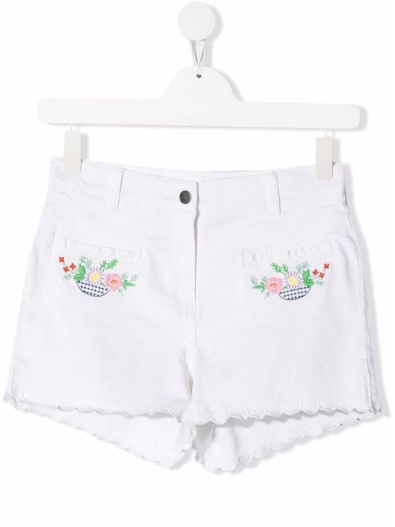 Stella McCartney Kids White Cotton Shorts With Floral Embroidery - White