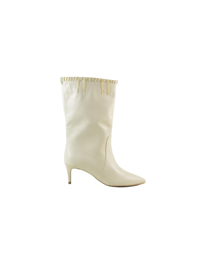 Patrizia Pepe Ivory Leather Boots W/chains - Ivory