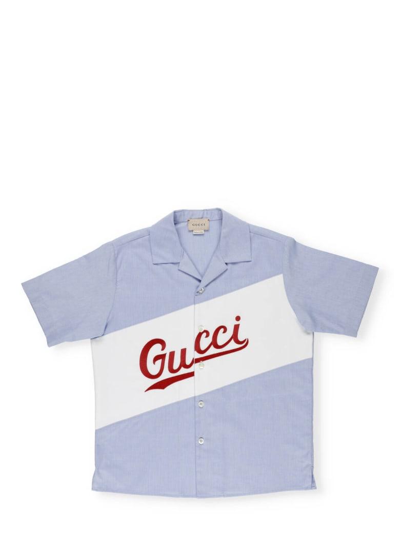 Gucci Cotton Shirt - FOGGY BLUE/MIX