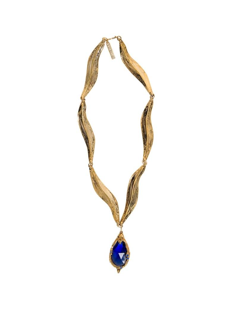 Alberta Ferretti Gold Colored Metal Necklace With Blue Stone - Blu