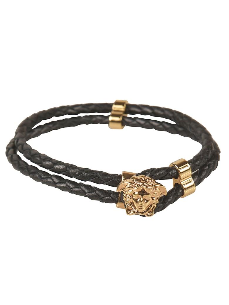 Versace Medusa Head Plaque Woven Bracelet - Black