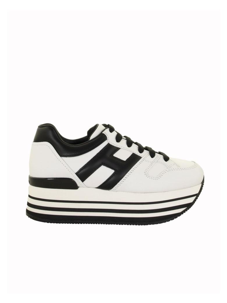 Hogan Maxi H222 Black, White Leather Sneakers | italist