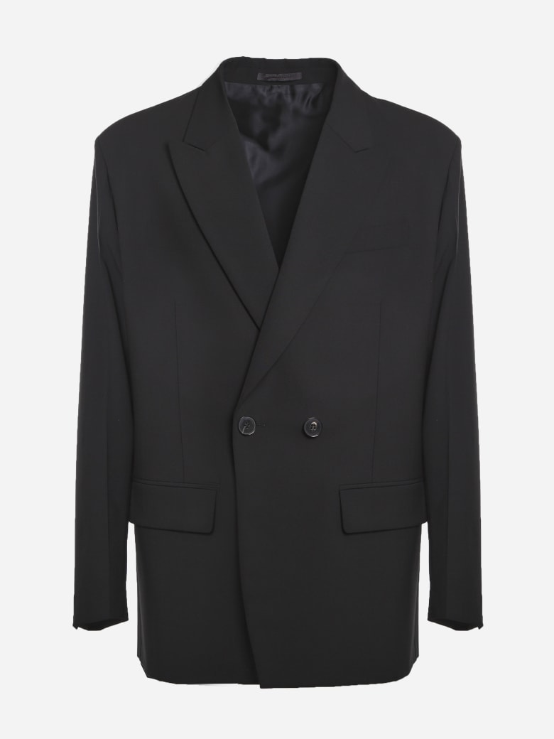Valentino Double-breasted Wool Jacket - Black