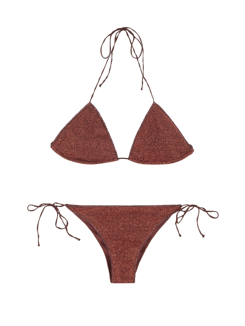 Oseree Lumière Triangle Bra Bikini - brown