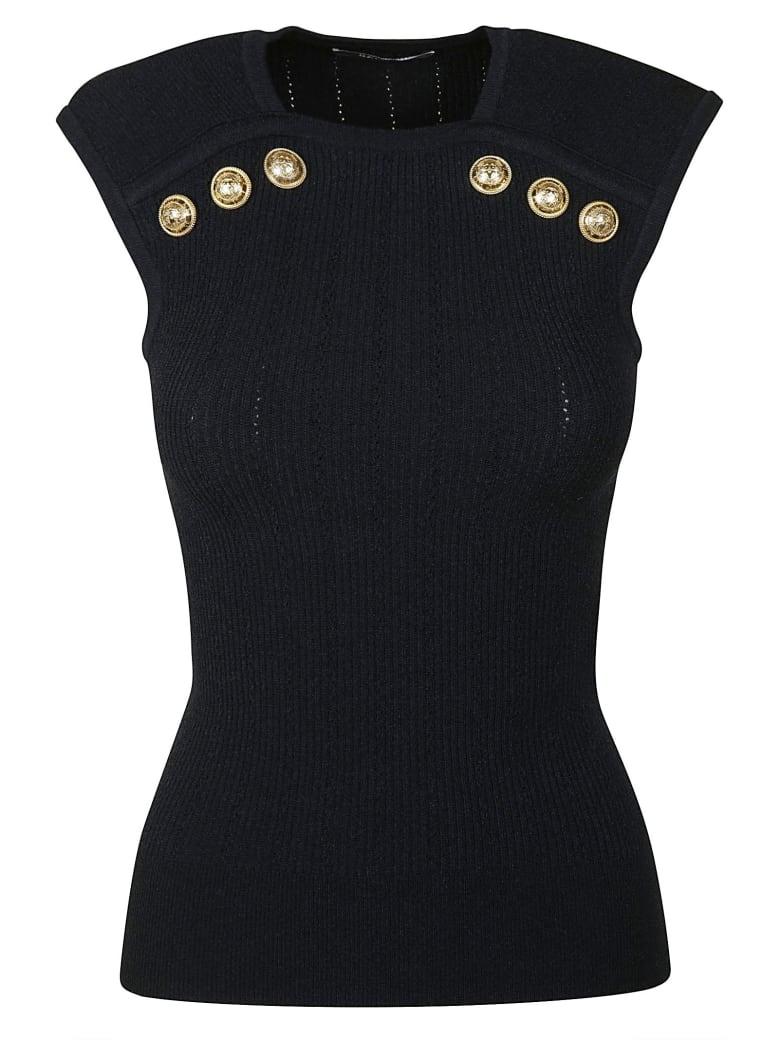 Balmain Button Embellished Sleeveless Top - Blue