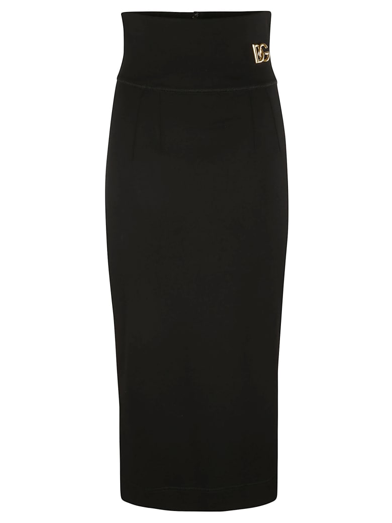 Dolce & Gabbana High-waist Logo Plaque Skirt - Black
