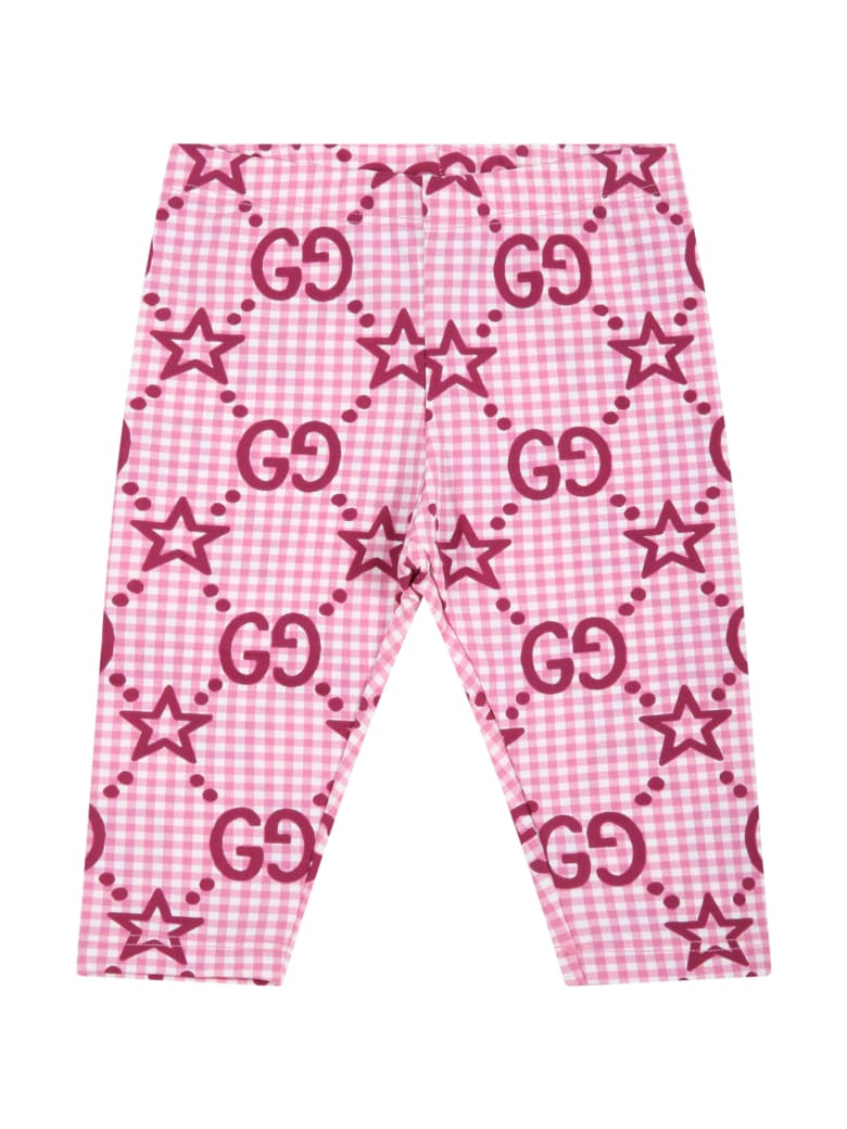 Gucci Pink Leggings For Baby Girl With Double Gg And Stars - Pink