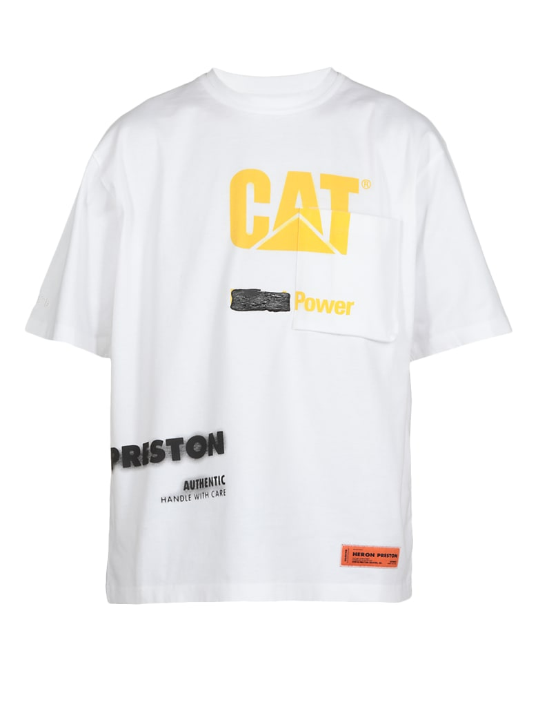 HERON PRESTON Cat Pkt Power T-shirt - WHITE YELLO