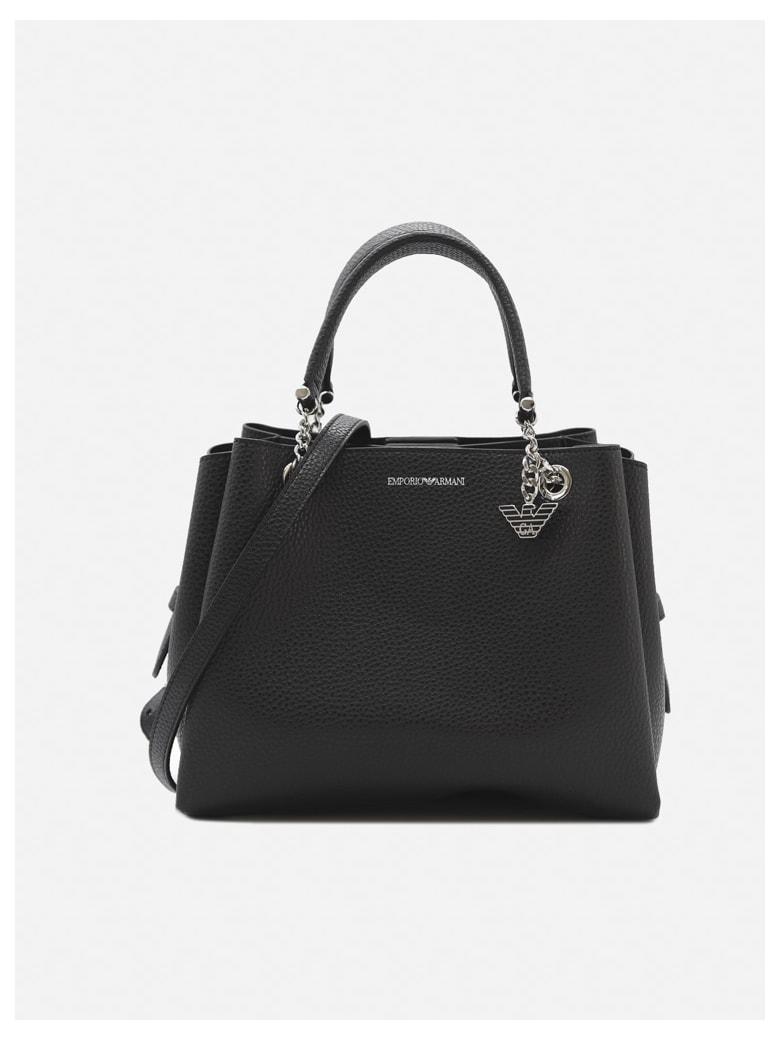Emporio Armani Handbag With Screen-printed Logo Detail - Black