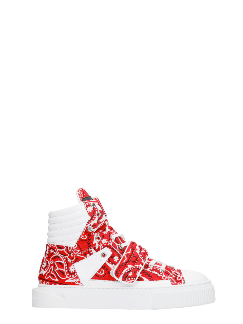 Gienchi Hypnos Sneakers In Red Leather And Fabric - red