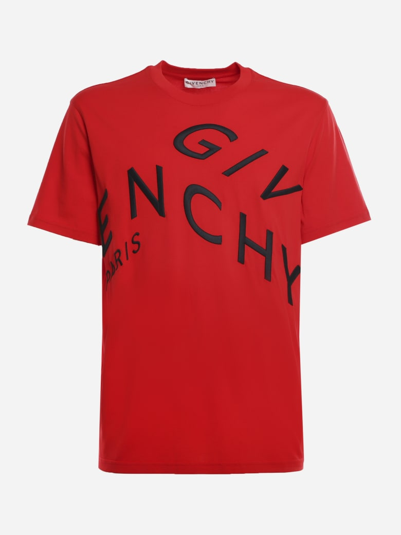 Givenchy Cotton T-shirt With Contrasting Refracted Embroidery - Red