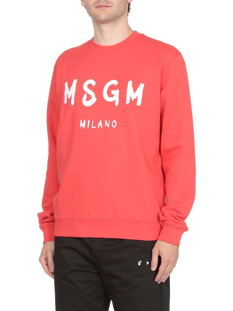 MSGM Cotton Sweatshirt - STRAWBERRY RED