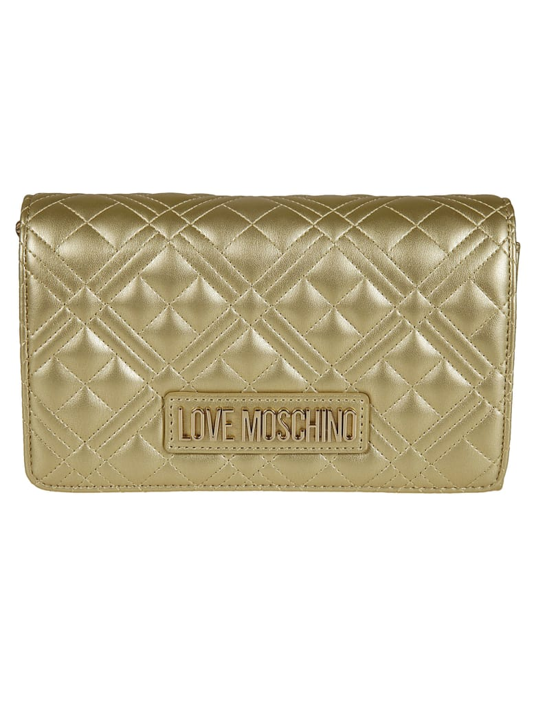 Love Moschino Logo Plaque Quilted Chain Shoulder Bag - Gold