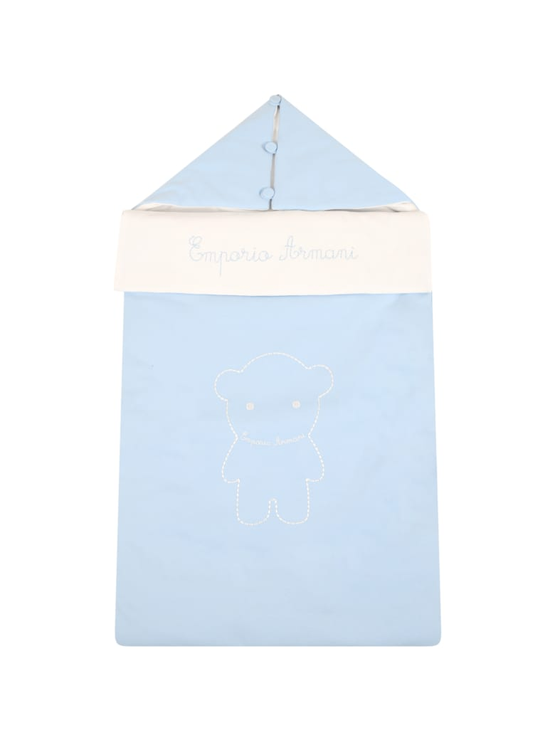 Armani Collezioni Light Blue Sleeping Bag For Babyboy With Logo - Light Blue