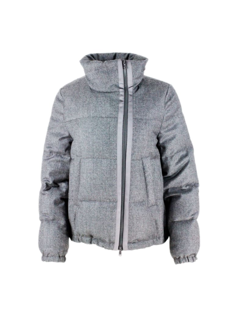 Brunello Cucinelli Short Down Jacket In Laminated Wool With Lurex Threads With Concealed Hood And With Grosgrain Inserts Along The Zip With Side Closu - Grey