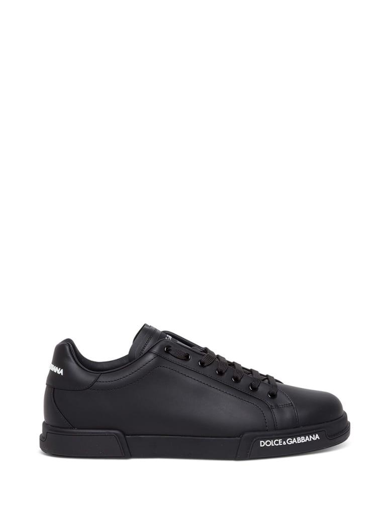 Dolce & Gabbana Portofino Black Leather Sneakers - Black