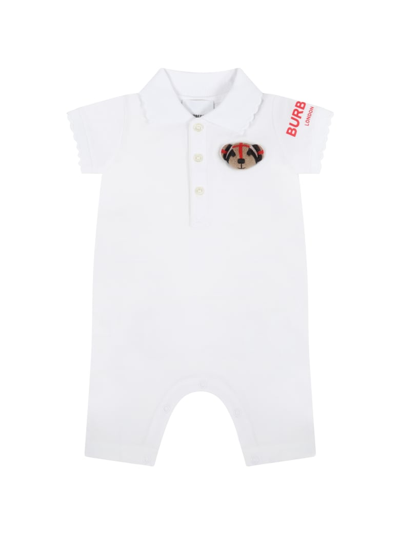 Burberry White Romper For Baby Girl With Thomas Bear - White