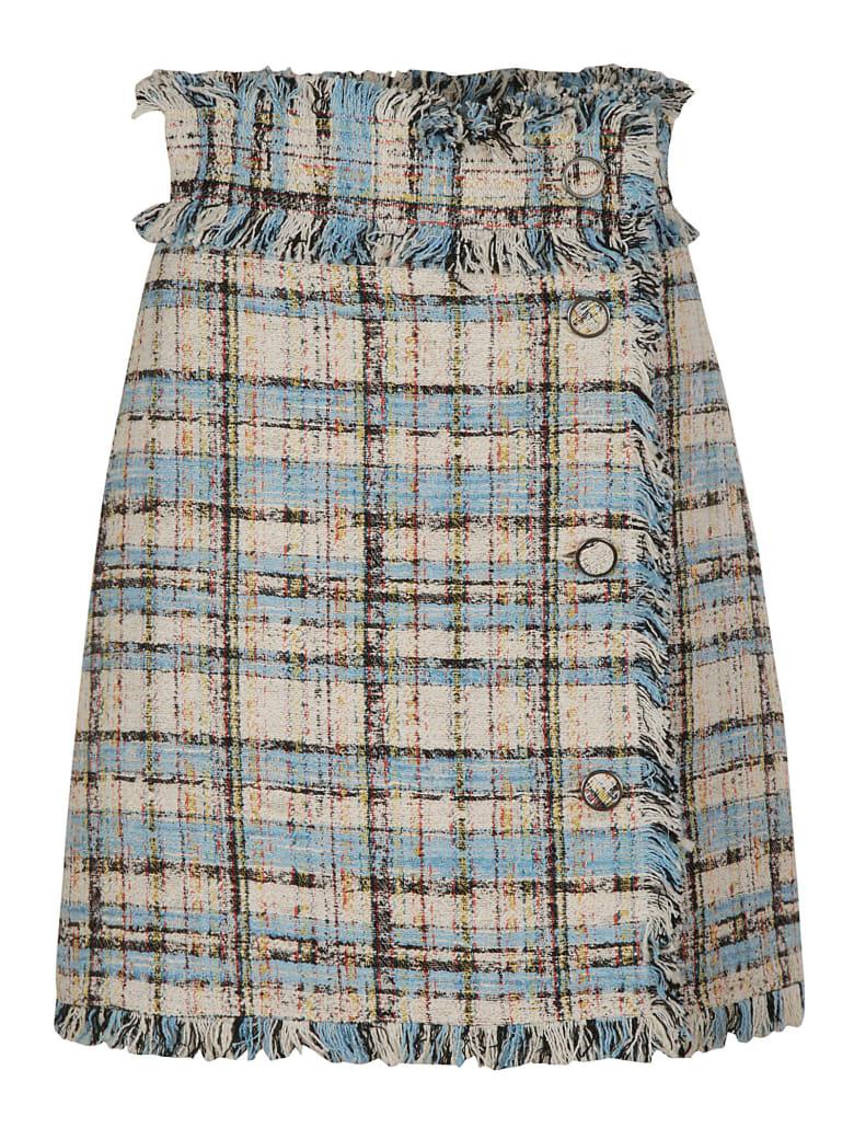 MSGM Fringe Trimmed Check Skirt - Azure