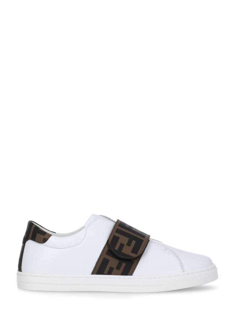 Fendi Leather Sneaker With Loged Strap - BIANCO+TABACCO NERO
