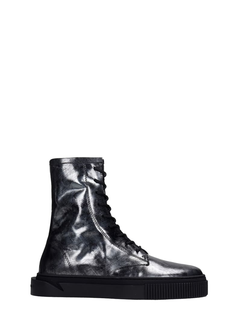 Gienchi Booz Metal Combat Boots In Black Leather - black
