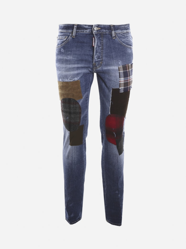 Dsquared2 Stretch Cotton Jeans With Patch Applications - Blue