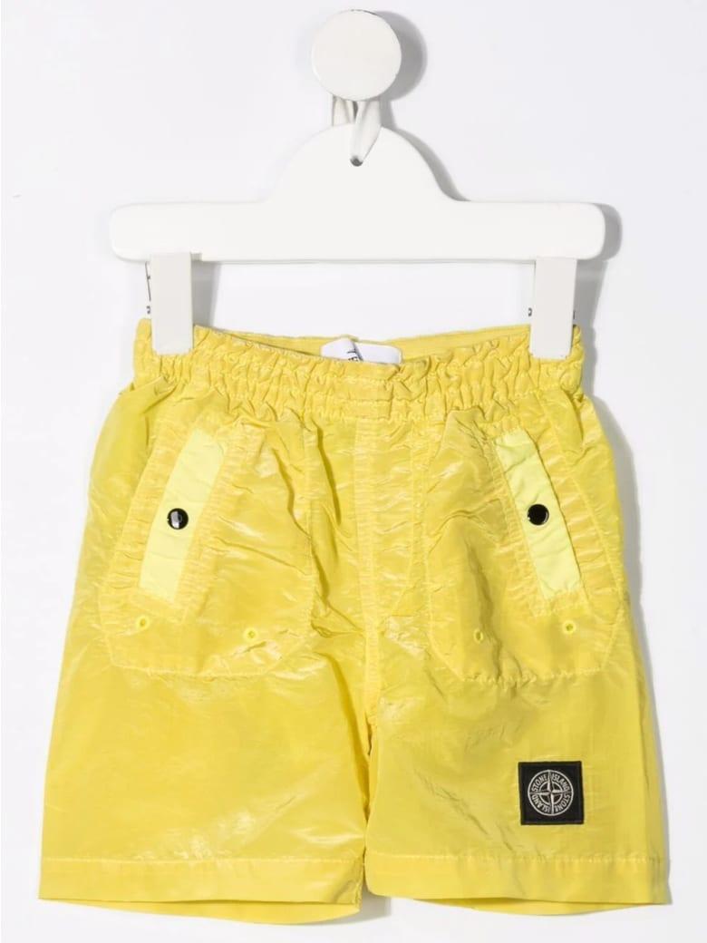 Stone Island Junior Kid Yellow Logo Patch Swimsuit - Grano