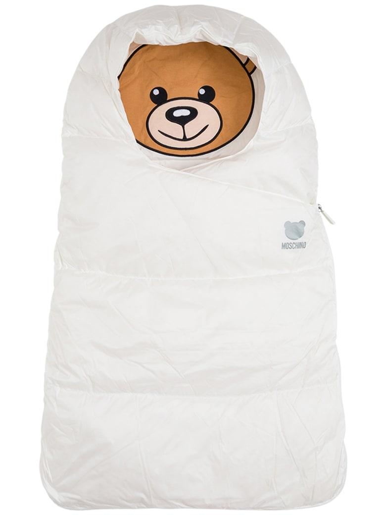 Moschino White Nylon Puffer Bag  With Teddy Bear Print - White
