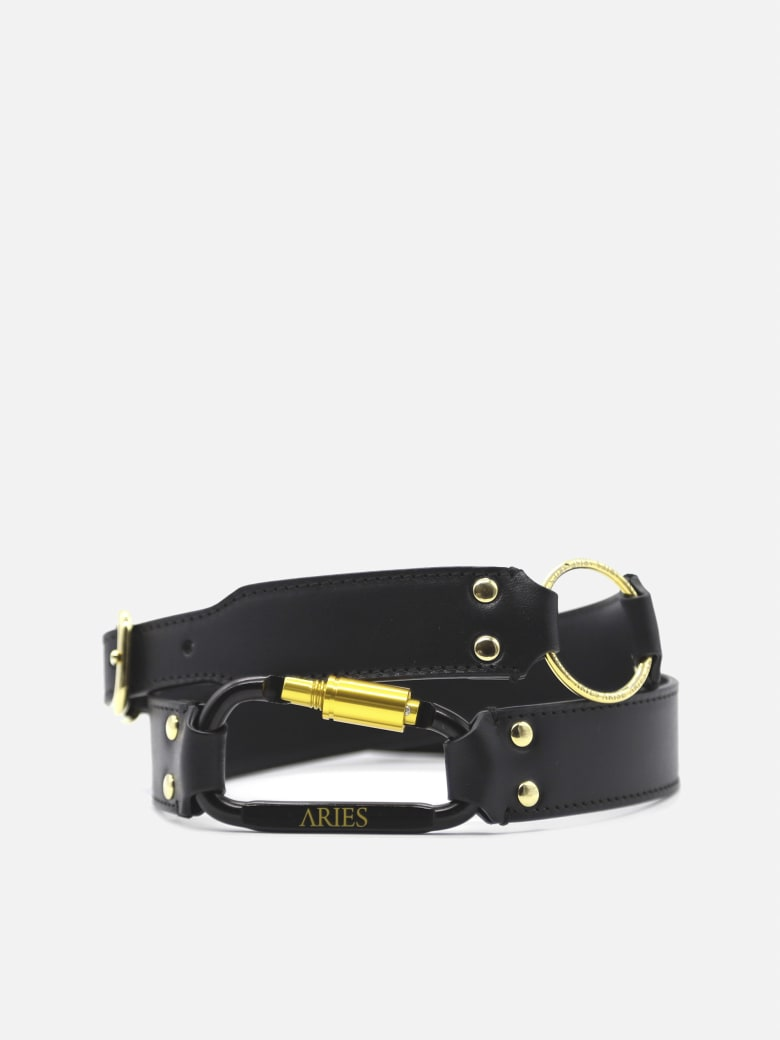 Aries Bobby Leather Belt With Studs - Black