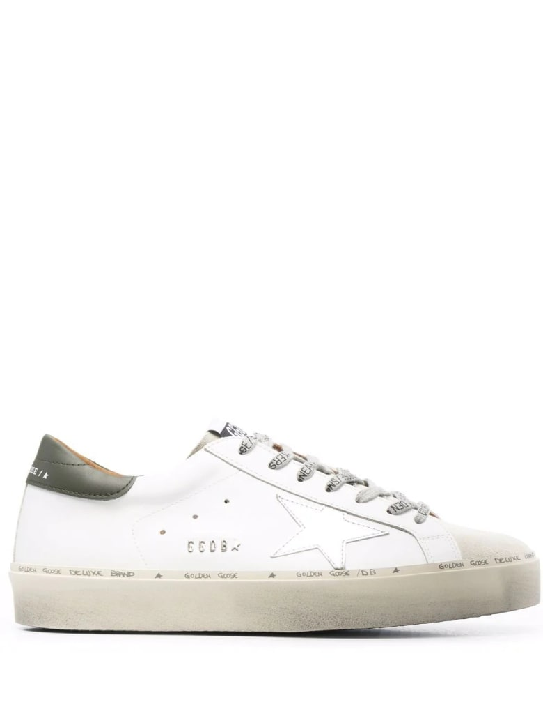Golden Goose Man White Hi-star Sneakers With Military Green Spoiler And Logoed Laces