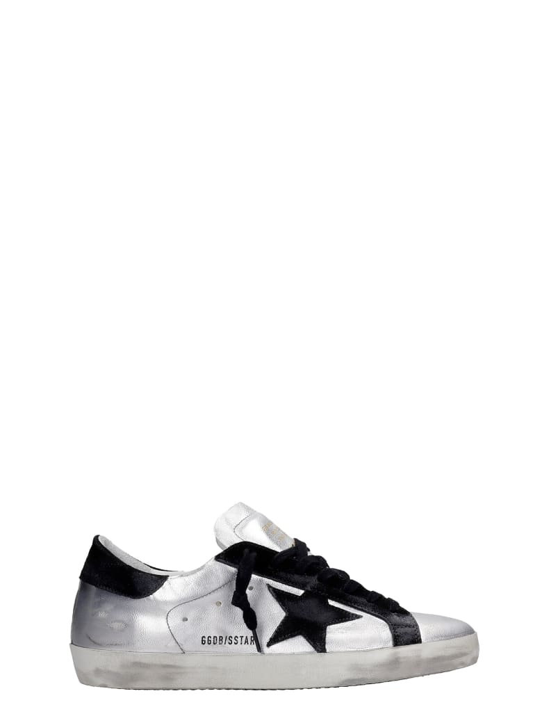 Golden Goose Superstar Sneakers In Silver Suede And Leather - ARGENTO