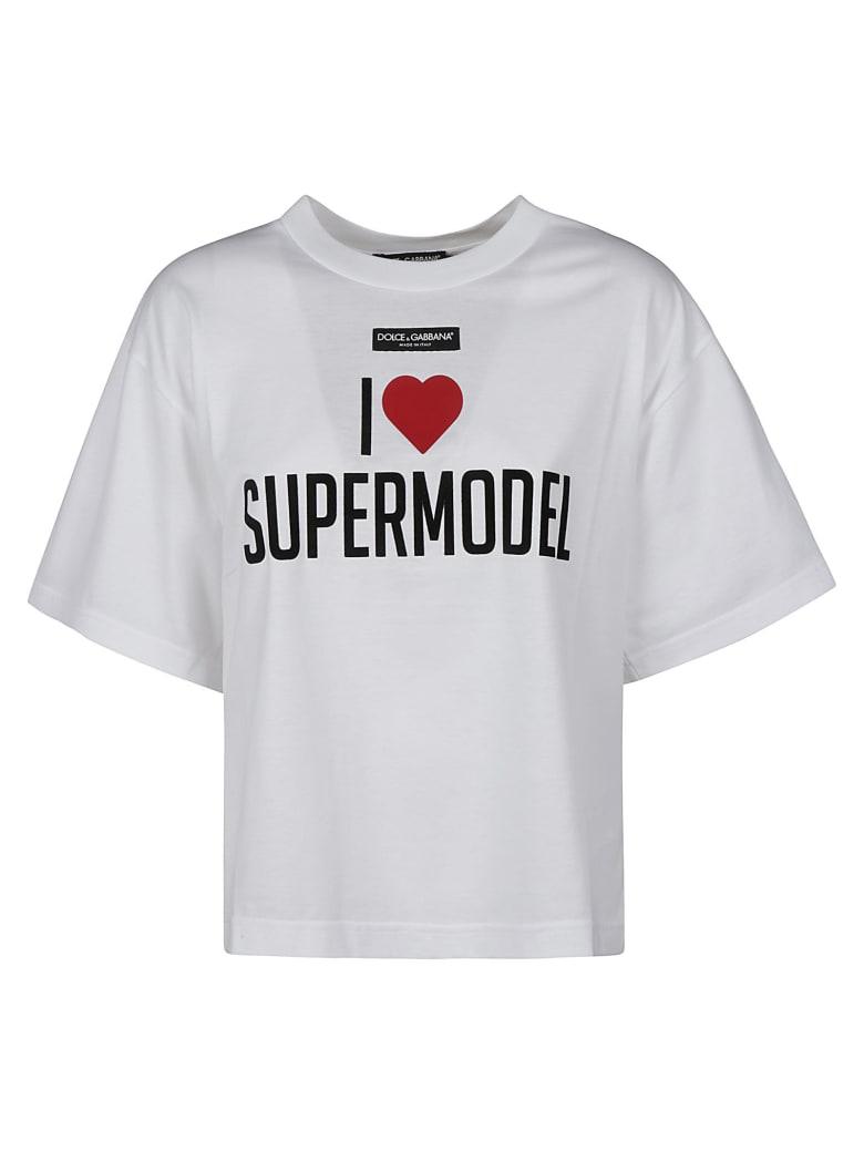 Dolce & Gabbana Logo Patched Printed T-shirt - Bianco