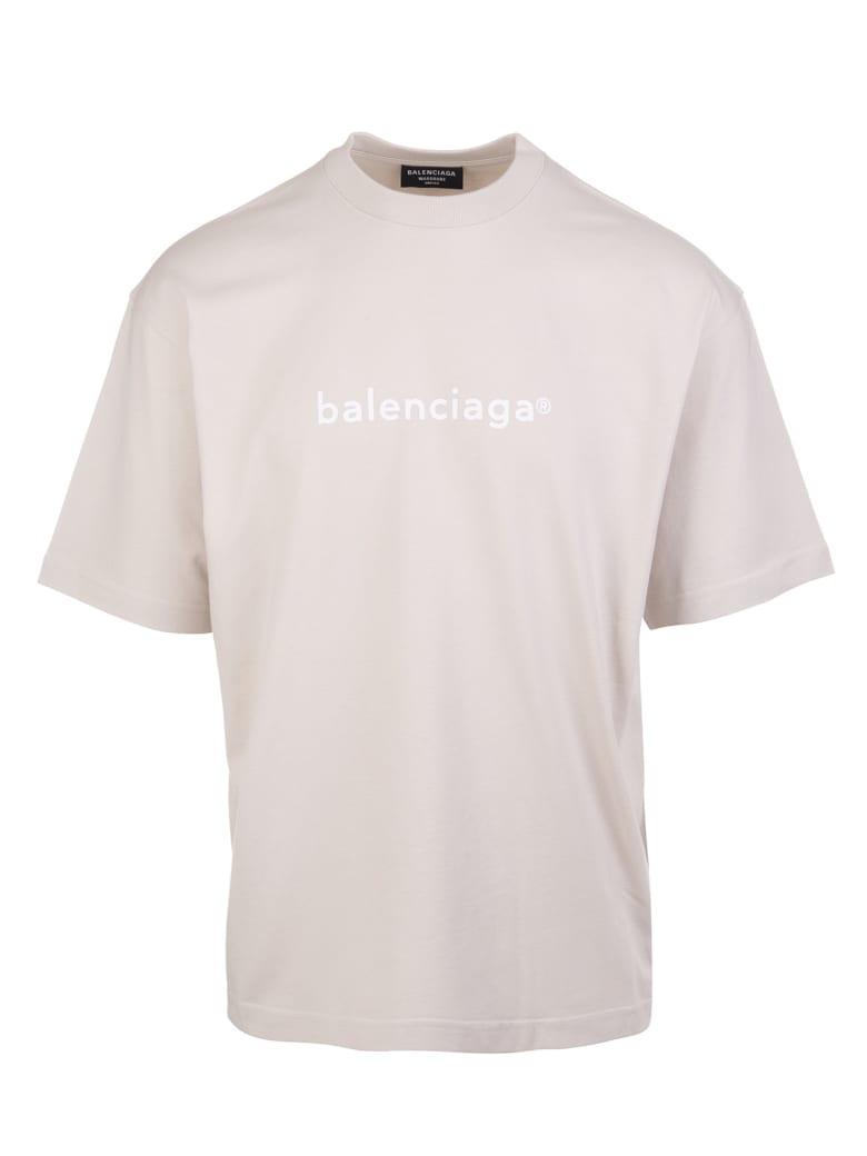 "Balenciaga Unisex Light Grey ""new Copyright"" T-shirt - Cement grey/white"