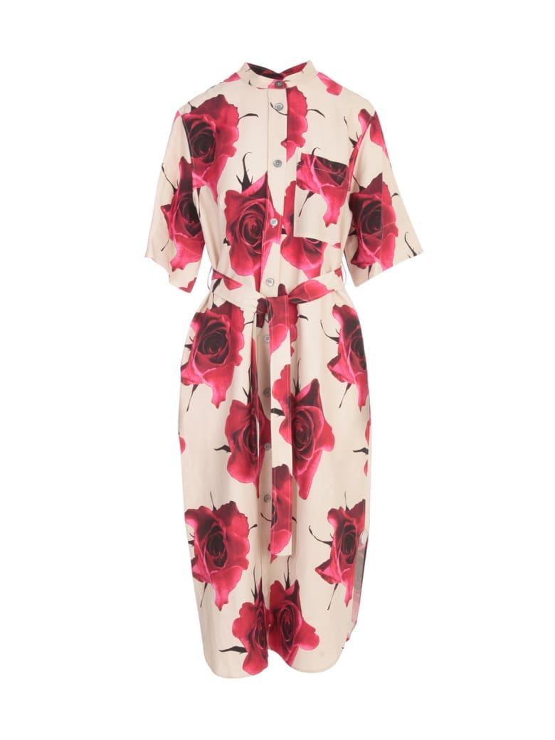 Paul Smith 3/4s Dress W/flowers Printing Belt - Rosa