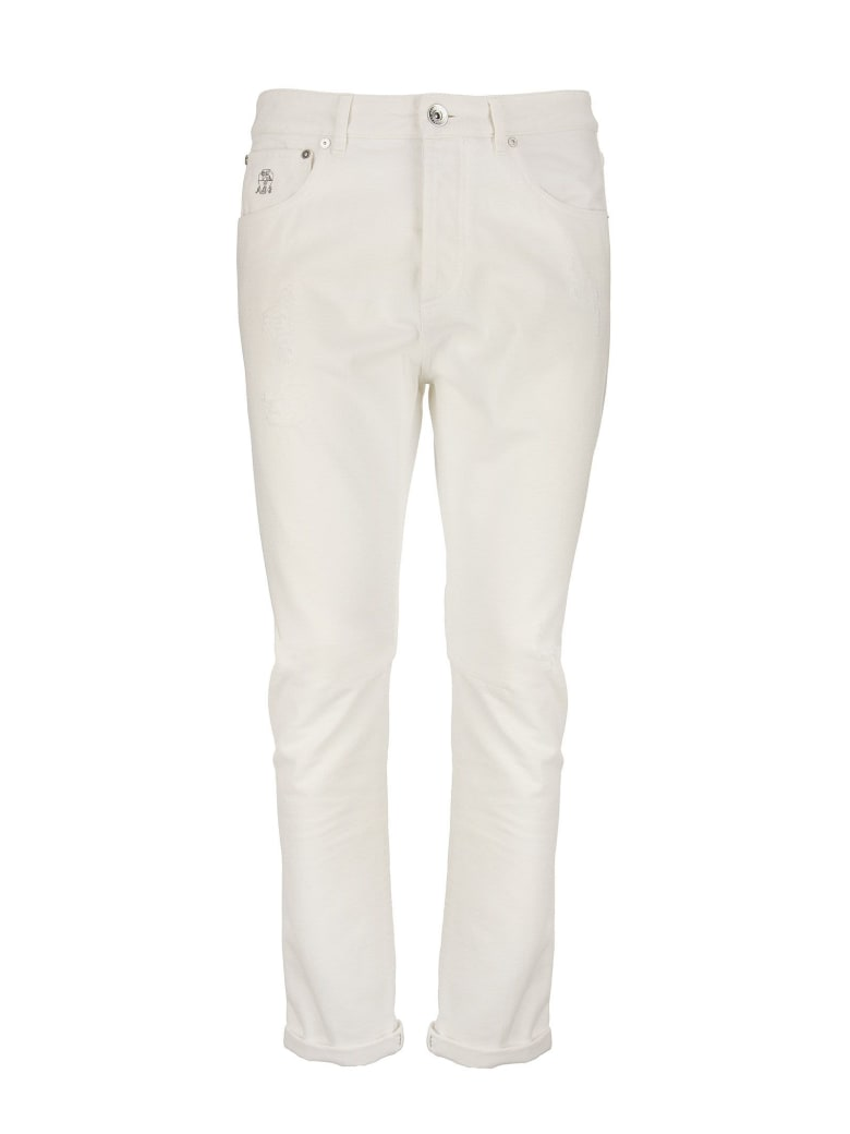 Brunello Cucinelli Garment-dyed Traditional Fit Five-pocket Trousers In Slubbed Cotton Denim - Snow