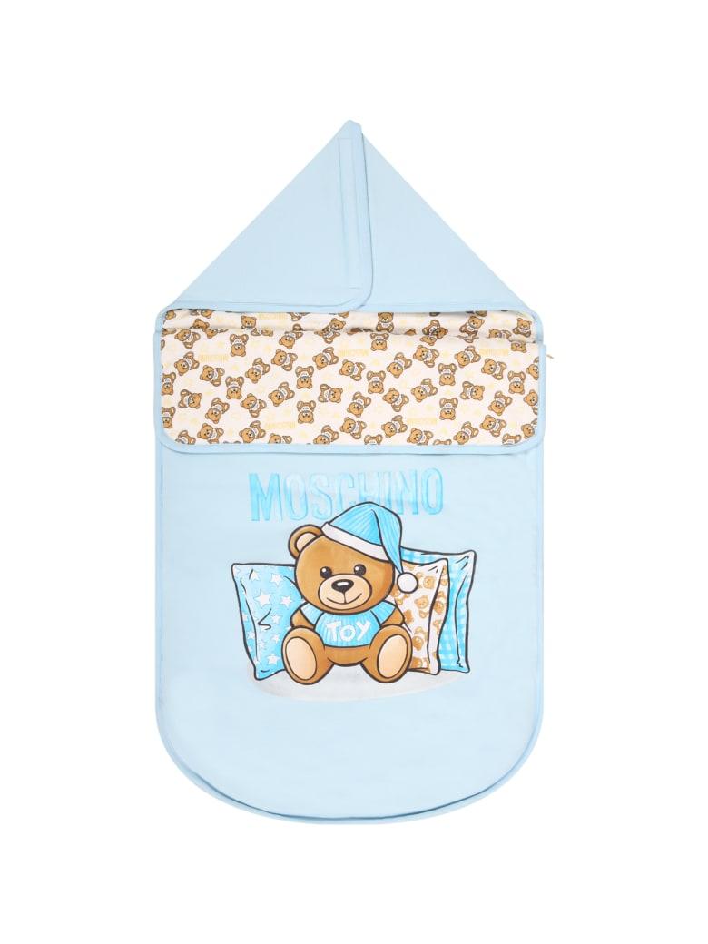 Moschino Light Blue Sleeping Bag For Baby Boy With Teddy Bears - Light Blue