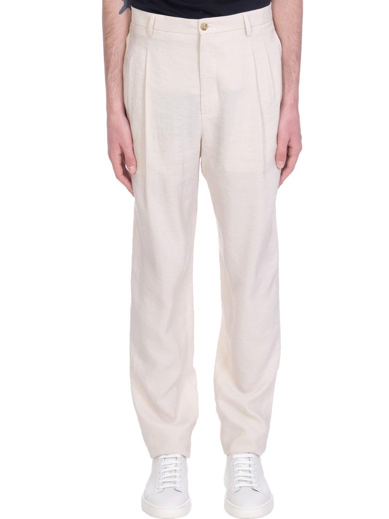 Giorgio Armani Pants In Beige Cotton - beige