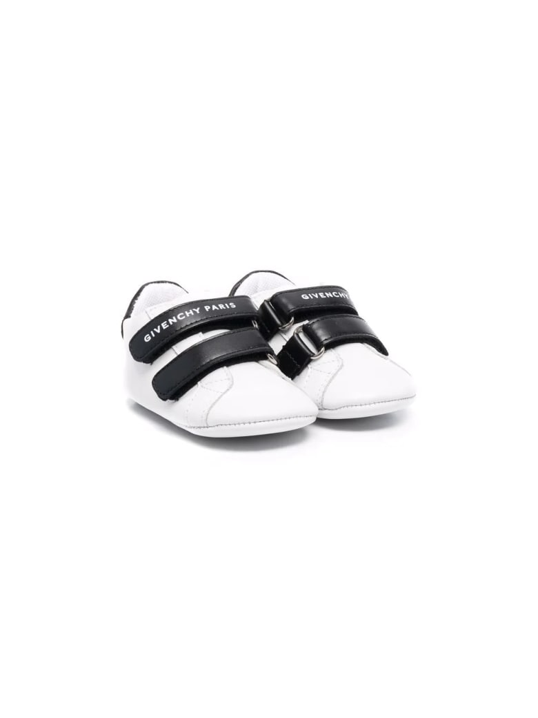 Givenchy White And Black Baby Sneakers With Logo - Black/white