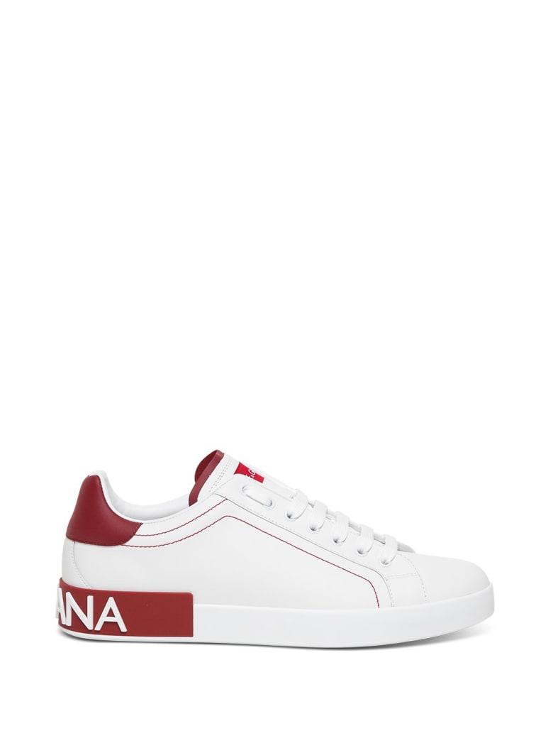 Dolce & Gabbana Portofino White Leather Sneakers - White