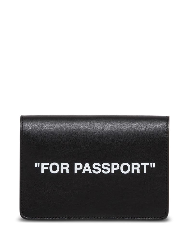 Off-White Black Leather Card Holder With Print - Black