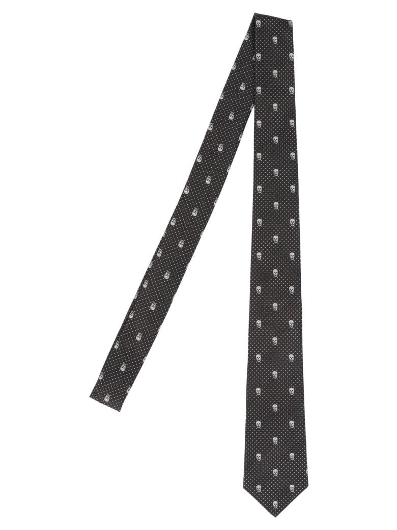 Alexander McQueen 'the Skull Polka Dots' Tie - Black&White